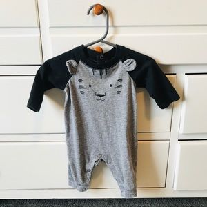 CARTERS Gray animal romper size 3 mos ears